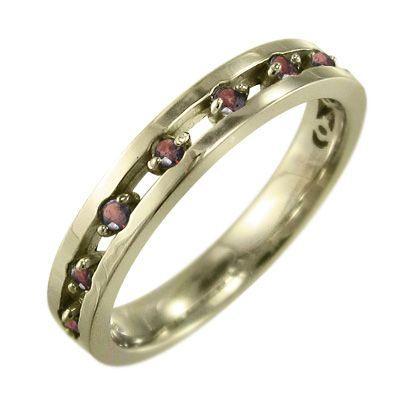 最高級 10kイエローゴールド 平らな指輪 1月誕生石 ガーネット 9ピース, アクセサリーPePe 89d999f8