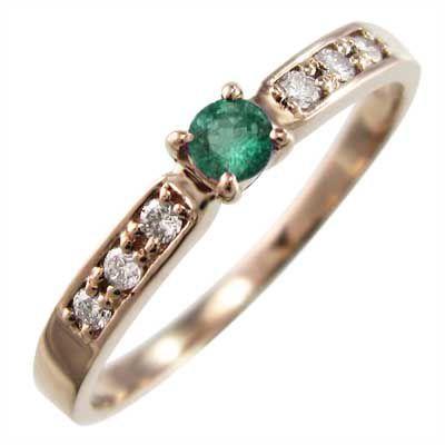 2019人気新作 指輪 18金ピンクゴールド エメラルド ダイヤモンド 5月の誕生石, システムファーム e6589962