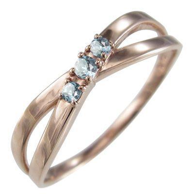 【メール便無料】 アクアマリン 指輪 3月の誕生石 クロス ヘッド 3石 3月の誕生石 アクアマリン 指輪 ピンクゴールドk18 X型, ナヨロシ:5a29e3b3 --- bit4mation.de
