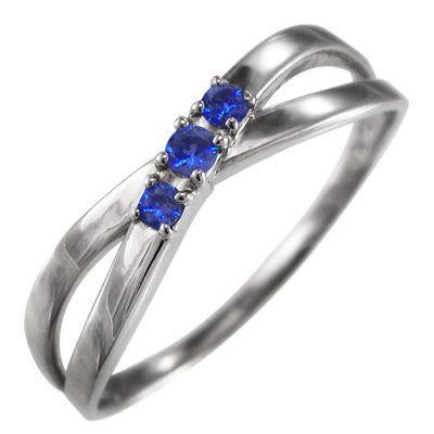爆買い! 指輪 ブルーサファイア クロス ヘッド 3石 プラチナ900 9月の誕生石 X型, イケダグリーンセンター 3c974a5e