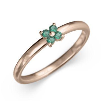 新規購入 エメラルド 指輪 Flower フラワー 5石 5月誕生石 k10ピンクゴールド, ハンドメイド雑貨Lacery de Rose f31f7935