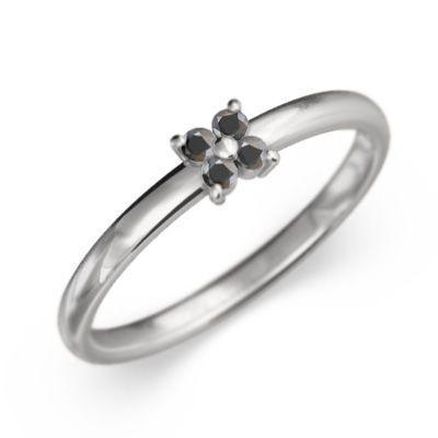【初回限定お試し価格】 Pt900 花 フラワー 指輪 5石 ブラックダイアモンド, 紡tumugu 5e9609df