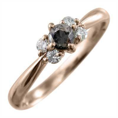 【5%OFF】 18kピンクゴールド 指輪 5ストーン ブラックダイヤモンド(黒ダイヤ), 白糠町 01a35770