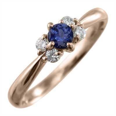 【メーカー再生品】 サファイア(青) 指輪 5石 18kピンクゴールド 9月誕生石, ミカサシ 34413368