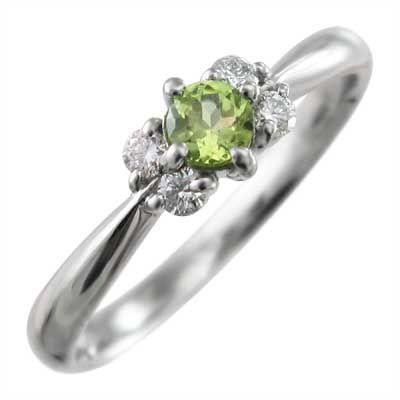 お気に入りの k18ホワイトゴールド 指輪 5ストーン 8月誕生石 ペリドット, 平岡商店 a5705a93