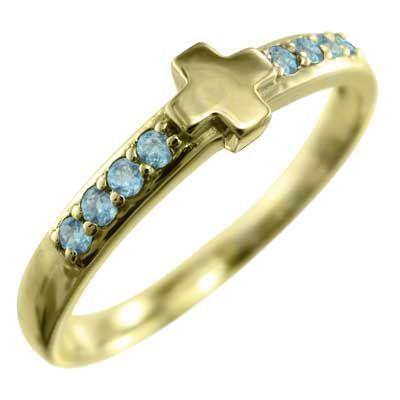 超安い品質 ブルートパーズ(青) リング クロス 11月の誕生石 18金イエローゴールド, ベイクハウスPaPaShu a3f6380f