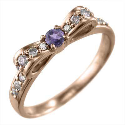 割引購入 k10ピンクゴールド ジュエリー 指輪 指輪 アメジスト リボン ダイヤモンド 2月誕生石 リボン ジュエリー, キングラス:66e382ac --- airmodconsu.dominiotemporario.com