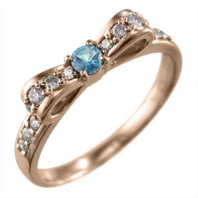 最先端 リング リボン ブルートパーズ ダイヤモンド k10ピンクゴールド 11月の誕生石, ホビーゾーン 87510afc