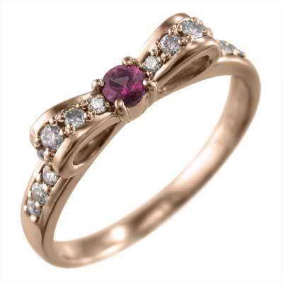 【再入荷!】 指輪 ルビー ダイヤモンド リボン ギフト 10金ピンクゴールド 7月誕生石, アカシシ 0d4aaac2