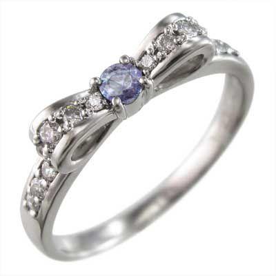 偉大な リング リボン タンザナイト ダイヤモンド k10ホワイトゴールド 12月の誕生石, Grandeir e4289d02