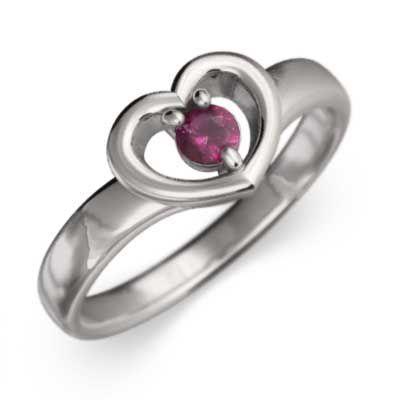 人気 18kホワイトゴールド 指輪 1粒 石 ルビー 7月の誕生石 スウィート ハート, ホビーショップてづか 7e5aa202