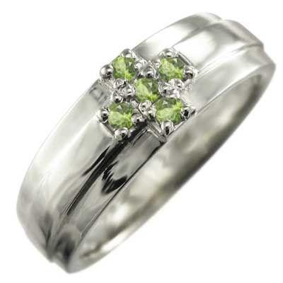 【高知インター店】 指輪 5石 クロス ヘッド ペリドット 8月誕生石 プラチナ900, 真珠の杜 LUXE 55244882
