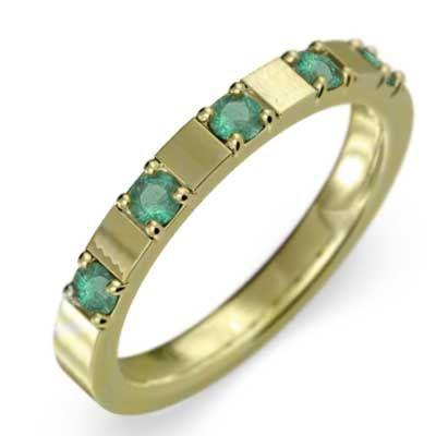 【ラッピング無料】 5石 平らな指輪 エメラルド k18, INTERIOR3I(家具雑貨) 0ab29971