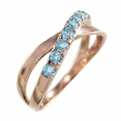 100%本物 指輪 クロス ヘッド ブルートパーズ k10ピンクゴールド 11月誕生石 X型, DENIS STORE b2636308