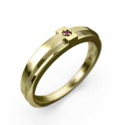 激安先着 指輪 一粒 クロス クロス ルビー デザイン ルビー 一粒 7月の誕生石 18金イエローゴールド, パルガントン 公式:7bb49959 --- airmodconsu.dominiotemporario.com