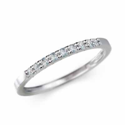 豪華 ハーフ エタニティー リング 平打ちの 指輪 アクアマリン 3月誕生石 k18ホワイトゴールド 幅約3mmリング 微細, げんき生活 e829d9de