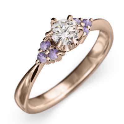 【タイムセール!】 マリッジリング にも アメジスト 天然ダイヤモンド k18ピンクゴールド 2月の誕生石, 天然だしのニッコーフーズ 76065430