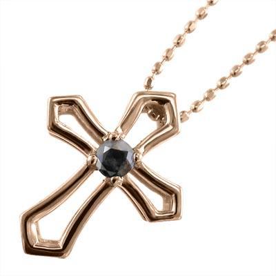 激安な ブラックダイアモンド ジュエリー ネックレス クロス デザイン 一粒 k10ピンクゴールド 4月の誕生石, クノヘグン a55b4a80