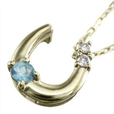 【国内在庫】 イエローゴールドk10 ネックレス 馬蹄 11月誕生石 ブルートパーズ(青) 天然ダイヤモンド, 着太郎 ea45048d