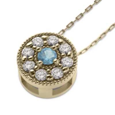 高価値セリー k10イエローゴールド ペンダント ネックレス ブルートパーズ 天然ダイヤモンド 11月誕生石 ミル打ち, EVERY STORE 24498508