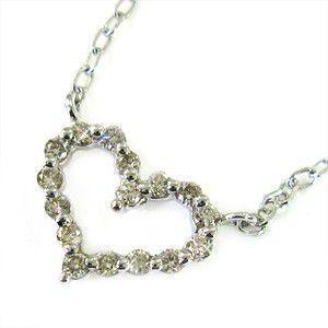 激安人気新品 k10ホワイトゴールド ネックレス 天然ダイヤモンド 4月誕生石 オープンハート, グググ 5d8fc68b