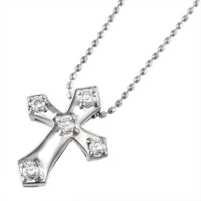男女兼用 k10ホワイトゴールド ペンダント ネックレス クロス ファイブストーン 4月誕生石 ダイアモンド, Cyberplugs 0a07b08c