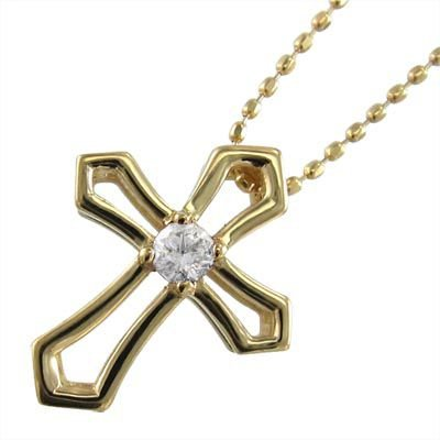 【NEW限定品】 ペンダント ネックレス クロス 一粒石 ダイヤモンド K18 4月誕生石, おあしす サボテンガーデン e85e890f