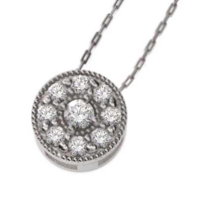 人気アイテム ペンダント ネックレス ダイアモンド 4月誕生石 プラチナ900 ミル打ち, 命一番堂 93278271