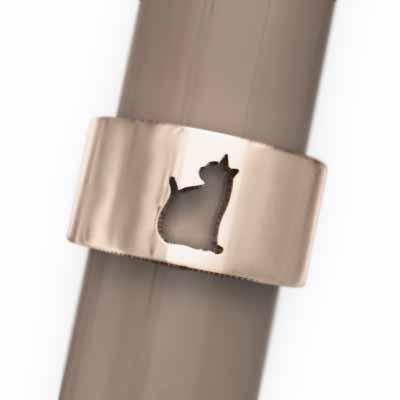 かわいい! 指輪 スタンダード 犬 18金ピンクゴールド 猫の型抜き, 名札屋本舗 10fce657
