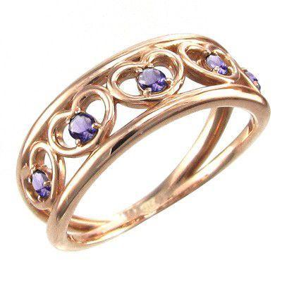 最高級 リング ハート ファイブ ストーン アメジスト(紫水晶) ピンクゴールドk10 2月の誕生石 5連, ソノベチョウ b04719c2