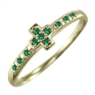 超人気高品質 エメラルド 指輪 クロス ヘッド 5月誕生石 10金イエローゴールド, 家具インテリアのジェンコ 47315e58