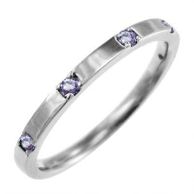 平らな指輪 18金ホワイトゴールド 5石 タンザナイト 12月の誕生石|skybell