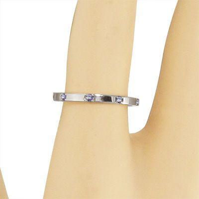 平らな指輪 18金ホワイトゴールド 5石 タンザナイト 12月の誕生石|skybell|02