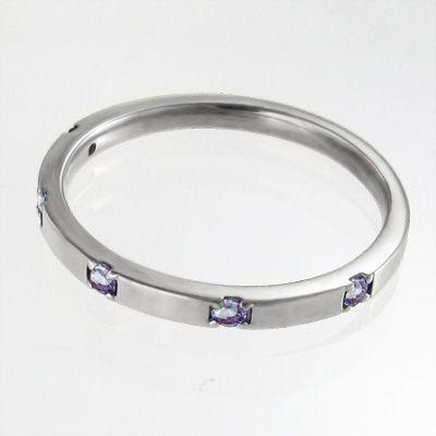 平らな指輪 18金ホワイトゴールド 5石 タンザナイト 12月の誕生石|skybell|03