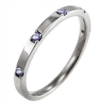 平らな指輪 18金ホワイトゴールド 5石 タンザナイト 12月の誕生石|skybell|04