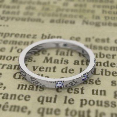 平らな指輪 18金ホワイトゴールド 5石 タンザナイト 12月の誕生石|skybell|05