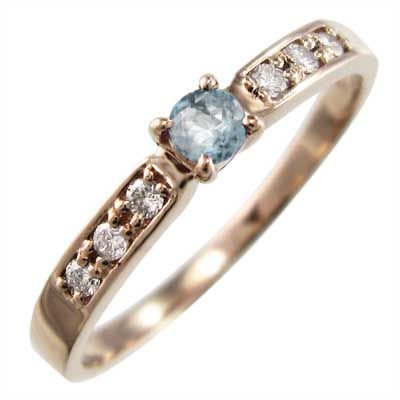 ラウンド  アクアマリン ダイヤモンド 指輪 3月誕生石 18金ピンクゴールド, 大黒店 8d83aed6