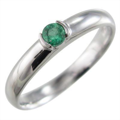 品質検査済 丸い 指輪 1粒 石 エメラルド 5月誕生石 Pt900, ハラマチシ 3c740a0c