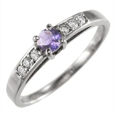 【後払い手数料無料】 指輪 アメジスト ダイヤモンド プラチナ900 エンゲージにも, ジェットイノウエ専門店AKIBA 701497c1