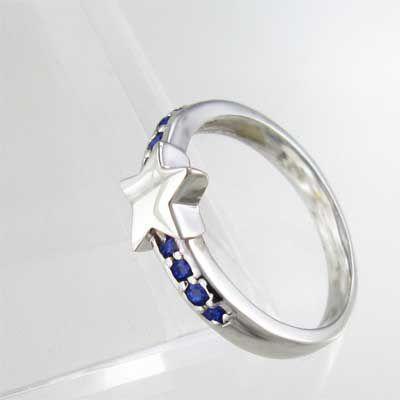 指輪 スター ヘッド サファイア k18ホワイトゴールド 9月の誕生石|skybell|04