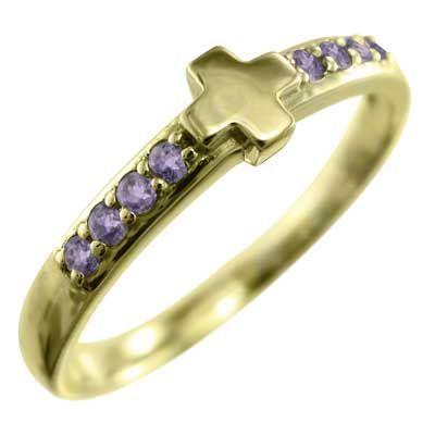 【売り切り御免!】 アメシスト(紫水晶) 指輪 十字架 18kイエローゴールド 2月の誕生石, サティスファクション ce37f614
