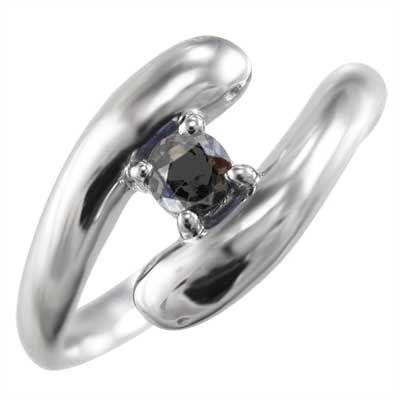 憧れの 指輪 ブラックダイヤモンド(黒ダイヤ) 金運 象徴 ヘビ 1粒 石 10金ホワイトゴールド 4月の誕生石, 加茂郡 ec782516