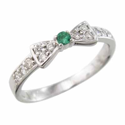 ずっと気になってた 指輪 エメラルド Pt900 天然ダイヤモンド 5月の誕生石 リボン 一粒 指輪 Pt900 5月の誕生石, シルバー&レザーPLUS:e222479d --- airmodconsu.dominiotemporario.com