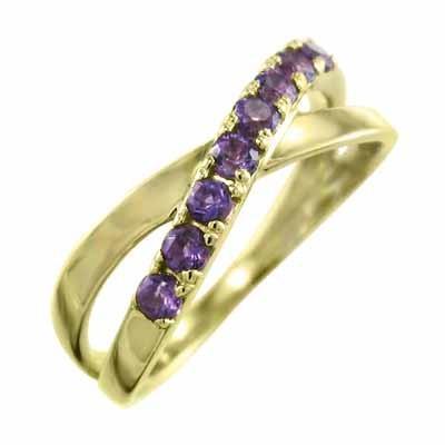 新しい到着 リング クロス アメジスト(紫水晶) 18金イエローゴールド 2月の誕生石 X型, キムチの希天家 9693864a