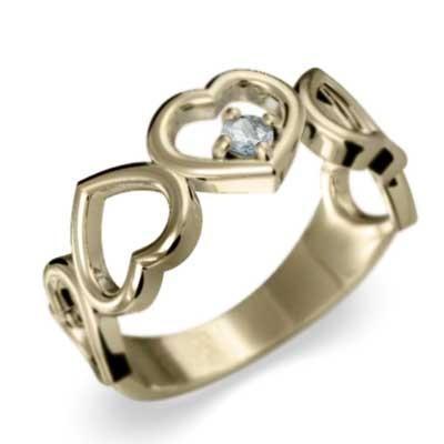 最安 指輪 オープン ハート 1粒 石 アクアマリン K10 3月誕生石 5連ハート, カー用品と雑貨のゼンポー c273f16f