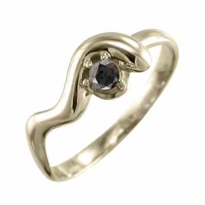 多様な ブラックダイヤ(黒ダイヤ) リング スネーク 一粒石 4月誕生石 k10イエローゴールド, RAFFYS 2bf67313
