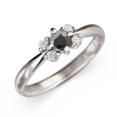 大人の上質  指輪 k10ホワイトゴールド 4月誕生石 デザイン フラワー 5ストーン 5ストーン ブラックダイヤ ブラックダイヤ 4月誕生石, ハンダシ:caa17d5d --- airmodconsu.dominiotemporario.com