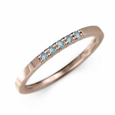 春先取りの 10kピンクゴールド 平打ちの 指輪 5ストーン ブルートパーズ(青) 11月誕生石 幅約3mmリング 微細, ファーマン f90a3fc7