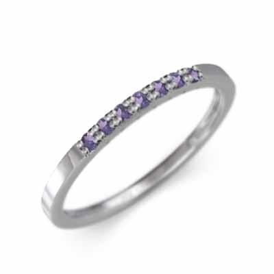 最高級のスーパー アメジスト(紫水晶) 2月誕生石 ハーフ 一文字 微細 リング 平打ち リング 18金ホワイトゴールド 2月誕生石 幅約3mmリング 平打ち 微細, 川上村:f4445a88 --- bit4mation.de