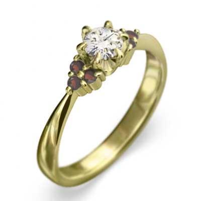 品質が完璧 ガーネット 天然ダイヤモンド オーダーメイド 結婚指輪 にも 1月の誕生石 イエローゴールドk18, 豊富町 eab78f47